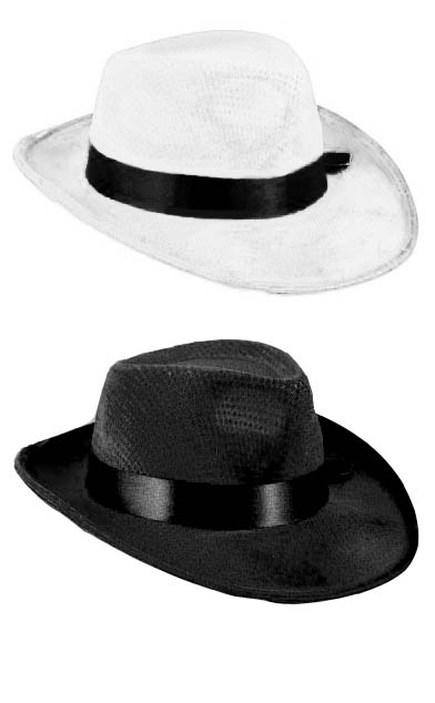 20 s Style Velour Gangster Fedora Hat - Black or White - Celebrity Costumes f7d3f40b0fa