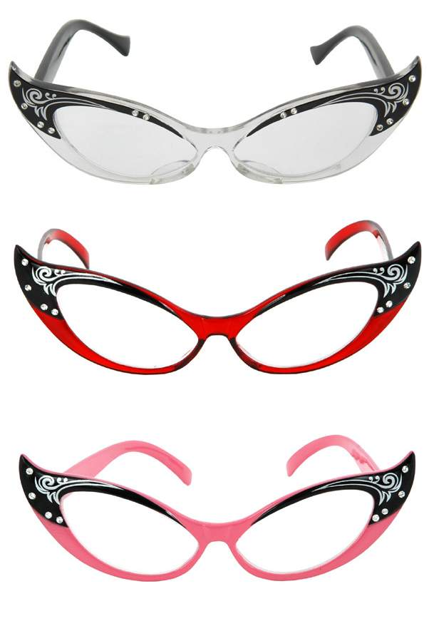 607d15ae750a1 Vintage Style Cat Eye Rhinestone Glasses - Candy Apple Costumes ...