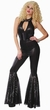 Women's 70's Black Sequin Jumpsuit Costume