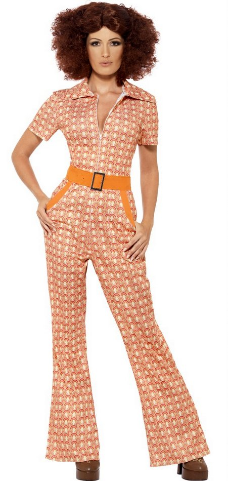 61e897b1429 Women s 70 s Chic Orange Print Jumpsuit - 70s Costumes - 60 s ...