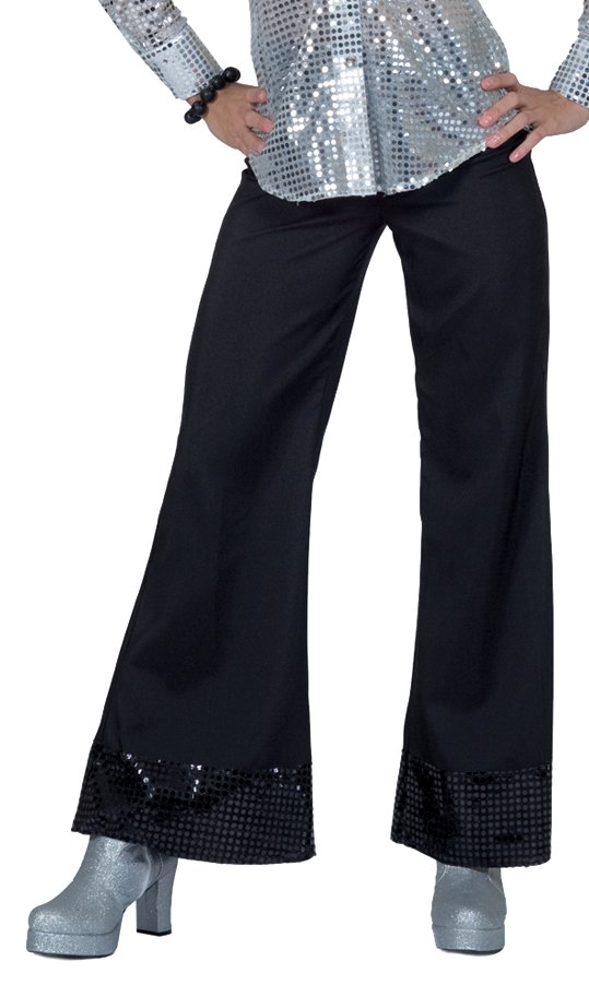 Disco Pants with Sequin Bottoms Black Costume