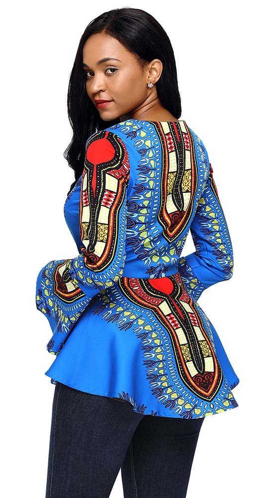 Women's Blue Long Sleeve Dashiki Shirt - Candy Apple ...