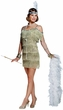 Women's Champagne Fringed Flapper Costume, Size Large