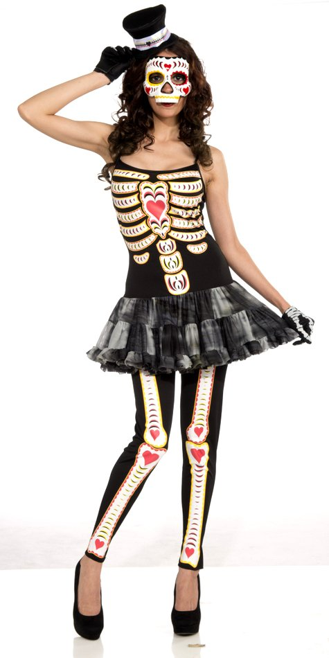 Womenu0027s Day of the Dead Skeleton Costume  sc 1 st  Candy Apple Costumes & Sexy Skeleton Costume - Candy Apple Costumes