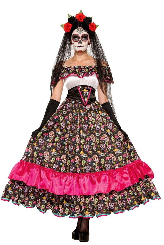 Womenu0027s Day of The Dead Spanish Lady Costume Size M/L  sc 1 st  Candy Apple Costumes & Day of the Dead Spanish Lady Costume Dia de los Muertos