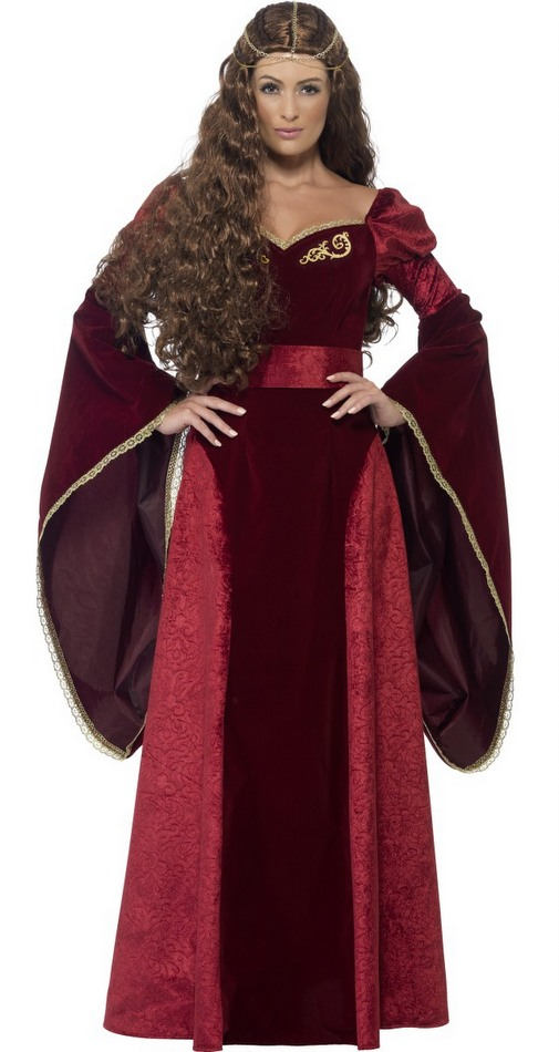 Womens Deluxe Crimson Medieval Queen Costume Candy Apple Costumes