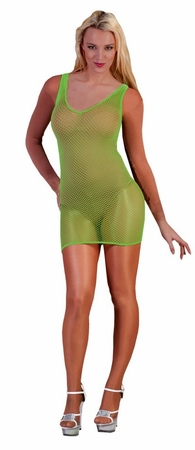 Women's Neon Green Fishnet Dress