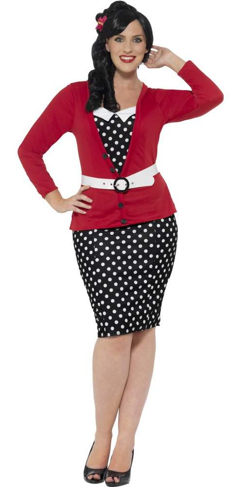 Women\'s Plus Size 50\'s Polka Dot Pin-Up Costume - Candy ...