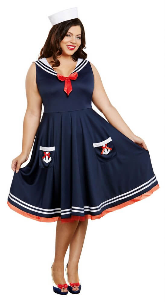 Plus size sailor dress costume - Dess store 24