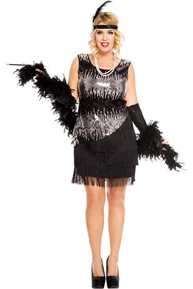 Womens Plus Size Black Fearless Flapper Costume Candy Apple