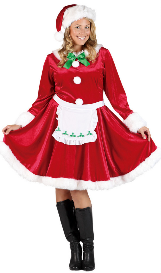 Women s plus size mrs santa claus costume candy apple