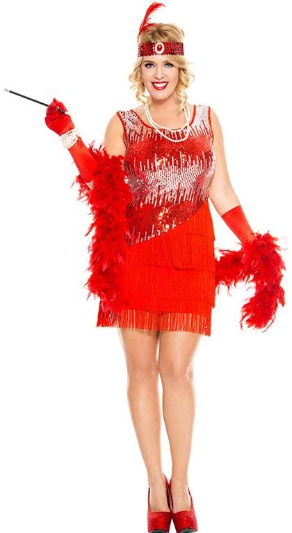 cdfa9dfc386b4 Women s Plus Size Red Fearless Flapper Costume - Candy Apple ...