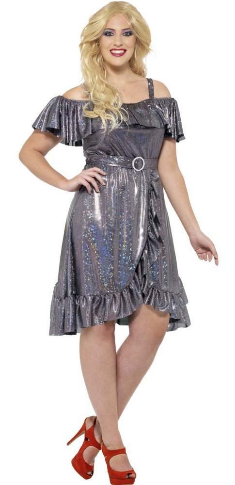 Women\'s Plus Size Silver Disco Diva Costume