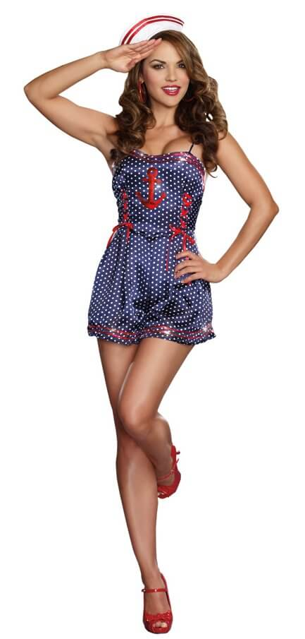 womens retro sailor romper costume
