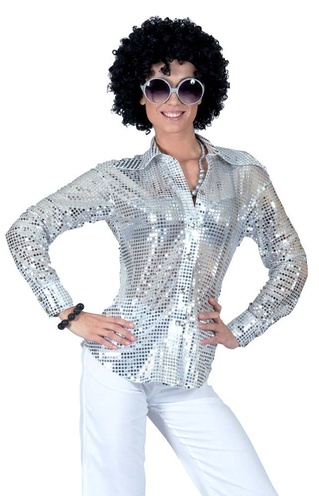 ffe26fca8c5e0a Women's Silver Stardust Sequin Disco Blouse - Candy Apple ...