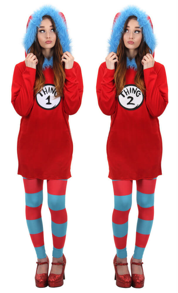 Womens Thing 1 2 Hooded Dress Costume Candy Apple Costumes
