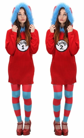 Women's Thing 1 or 2 Hooded Dress Costume
