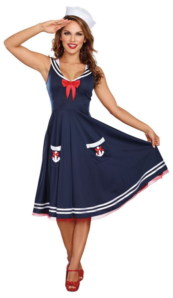 Womenu0027s All Aboard Retro Sailor Costume  sc 1 st  Candy Apple Costumes & Womenu0027s All Aboard Sailor Costume - Candy Apple Costumes - 4th of ...
