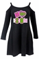Women's Black I Love the 80's Cold Shoulder Dress