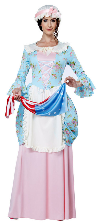 Adult Betsy Ross Kit American Flag Mop Hat Hero in History Costume Wig Accessory