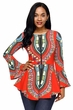 Women's Red/Orange Long Sleeve Dashiki Shirt