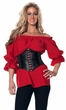 Women's 3/4-Sleeve Red Renaissance Peasant Blouse