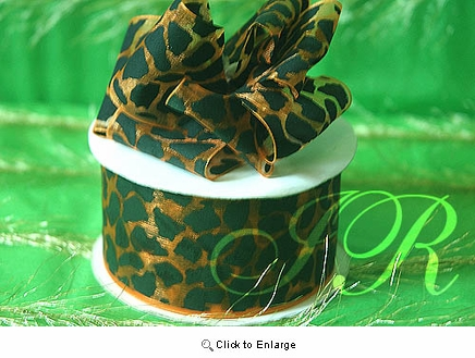 """1 1/2""""x 75' Leopard Satin   Gift Ribbon 