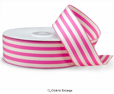"1 1/2""x25 Yard Pink & Ivory Striped Ribbon"