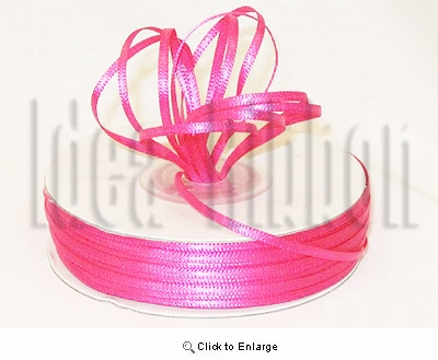 "1/16"" x 100 Yard Fuchsia Basic Polyester Satin Ribbon - Pack of 12"