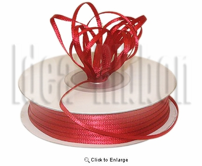 "1/16"" x 100 Yard Red Basic Polyester Satin Ribbon - Pack of 12"