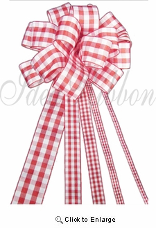 "1/4"" x  25yds. Red/White Gingham Christmas Gift  Ribbon"