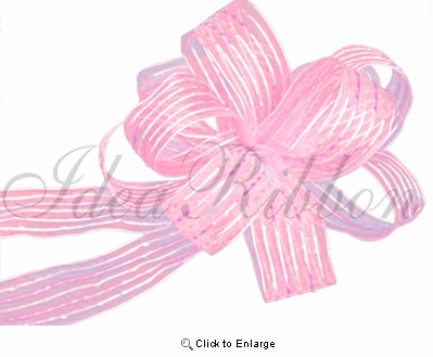 """1.5"""" x 10 yds Lt.Pink Wired Stitch Sheer Gift Ribbon"""