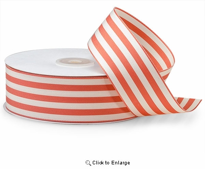 "1 1/2""x25 Yard Coral & Ivory Striped Ribbon"