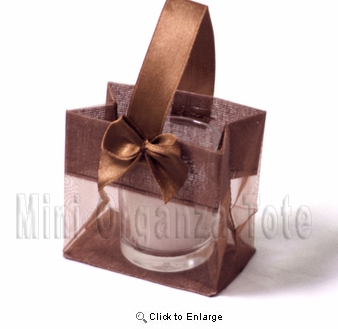 "12- 3 1/4"" x 3 1/4"" x 2  Brown Mini Organza Tote w/Satin Bow and handle N - Tote -  Pack of 12"
