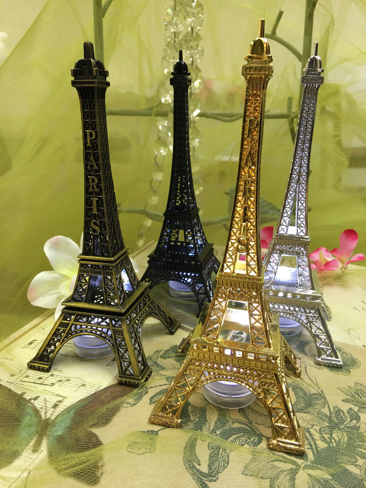 12 Eiffel Tower Paris Metal Stand Model Table Decor W Extra Led Waterproof Light