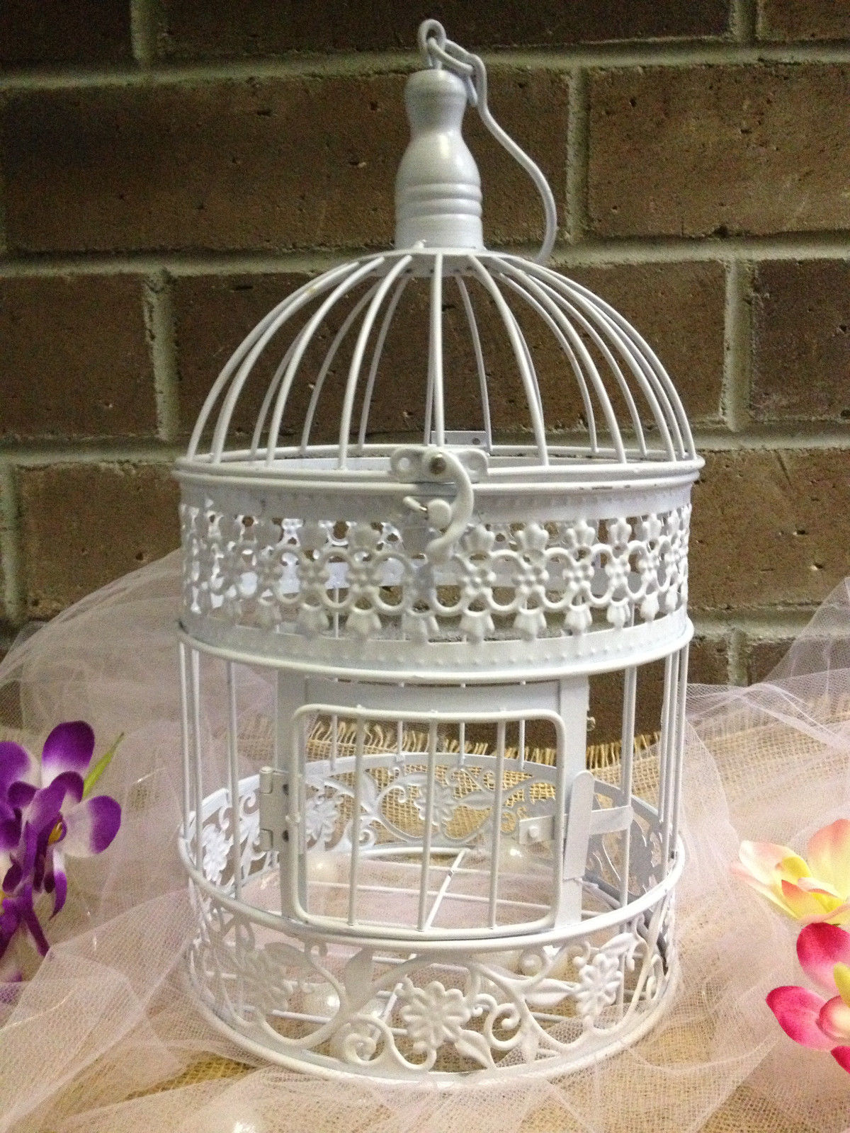 13 x7 white metal birdcage wedding t card holder wishing well reception 1