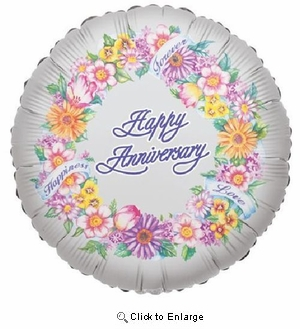 "18"" HAPPY ANIVERSARY GREETING MYLAR BALLOON"