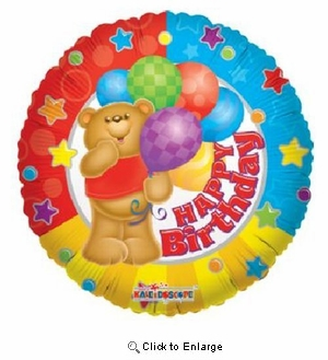 "18"" HAPPY BIRTHDAY BEAR MYLAR BALLOON"
