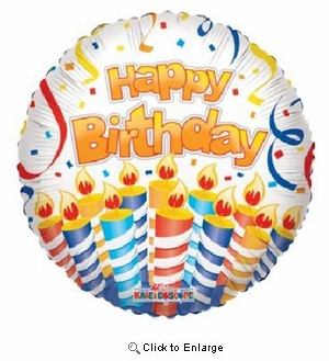 "18"" LOTS OF CANDLES HAPPY BIRTHDAY MYLAR BALLOON"