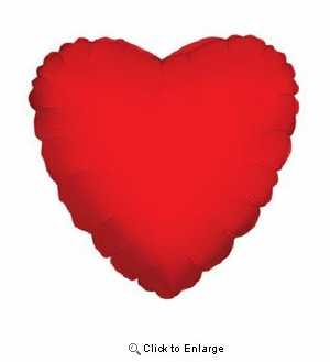 """18"""" RED SOLID HEART MYLAR BALLOON"""