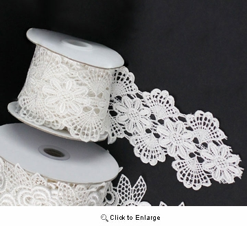 "2 3/4"" x 5 Yard Ivory Floral Lace Ribbon"