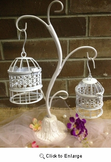 "20"" White Metal Birdcage Tree Wedding Gift Card Holder WISHING WELL Reception"