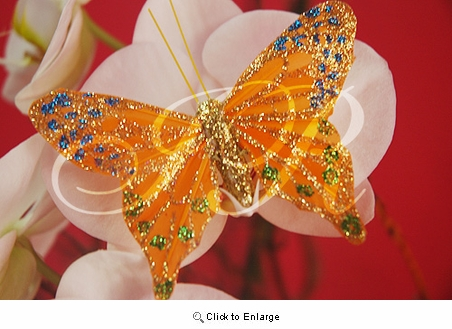 "3.5"" Orange Glitter Feather Butterflies Pack of 12 Pcs"