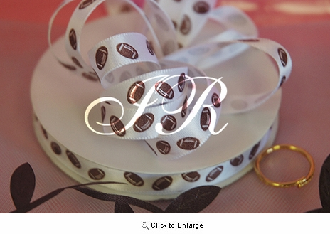 """3/8"""" 25yd football on White Satin Gift Ribbon 