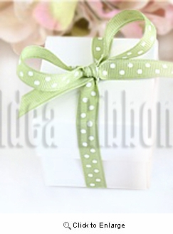 "3/8"" 50 Yard Grosgrian polka dot gift ribbon Apple green with white dot"