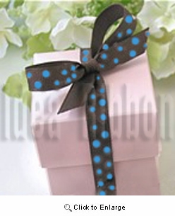 "3/8"" 50 Yard Grosgrian polka dot gift ribbon Brown with Turquoise dot"