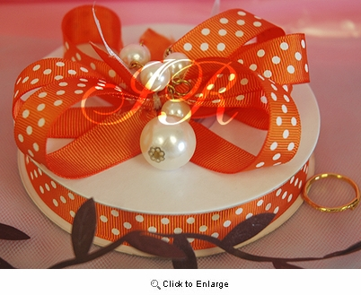 "3/8"" 50 Yard Grosgrian polka dot gift ribbon Orange with white dot"