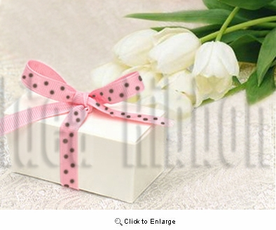 "3/8"" 50 Yard Grosgrian polka dot gift ribbon Pink with Brown dot"