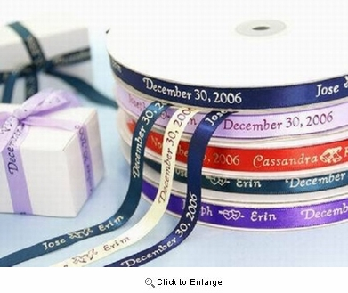 "3/8"" Continuous Personalized Ribbon  Sold by 100 Pieces (None Cut)"