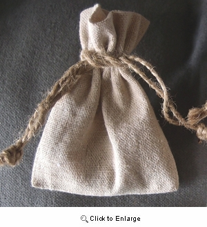 """3"""" x 4"""" Linen Bag with Jute Cord"""
